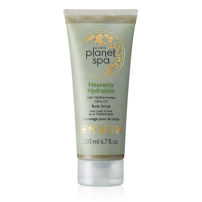 Avon Planet Spa Heavenly Hydration Body Scrub | AVON Planet Spa features at-home spa collections inspired by luxurious beauty rituals from around the world. Indulge your skin in the Mediterranean beauty secret of ultra-moisturizing olive oil with this body scrub. Inhale the refreshing scent of crisp greens and sandalwood. This invigorating scrub leaves skin feeling energized like never before. 6.7 fl. oz.