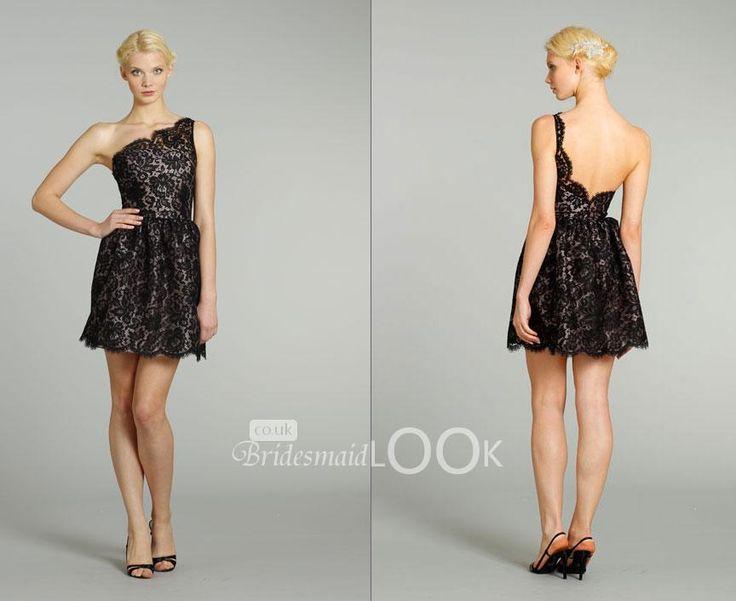 Short one shoulder black lace dress
