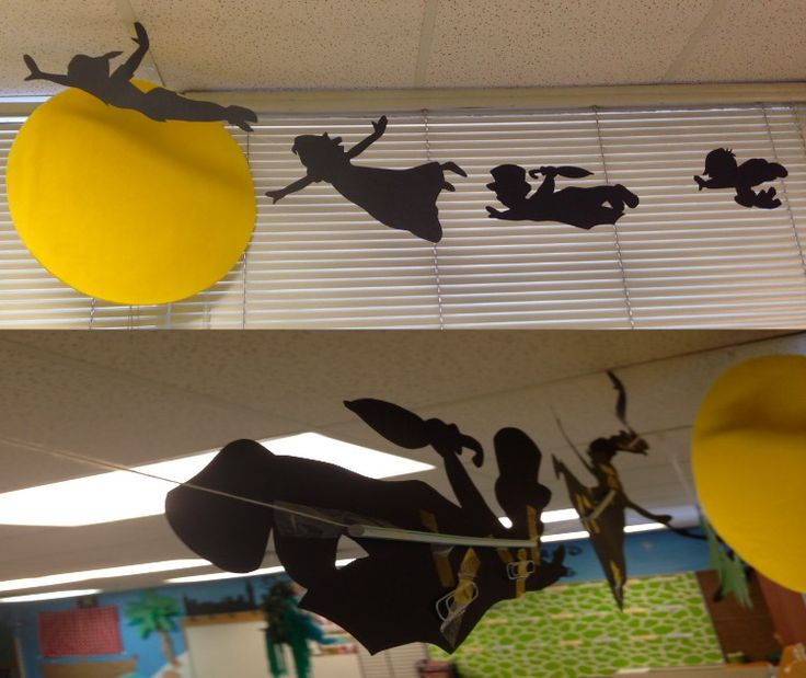 Flying silhouettes (straws to hold them up and paperclips for balance). #peterpan #classroom #diy