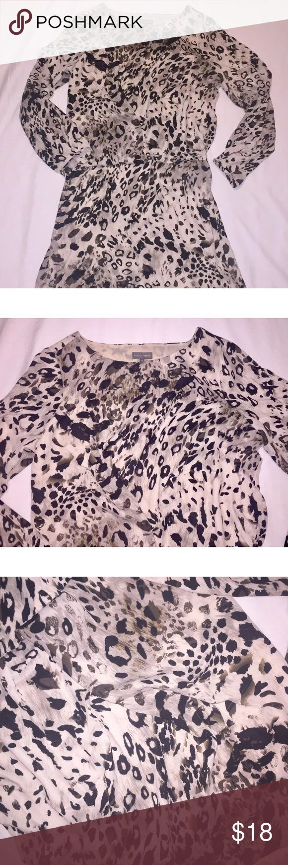 """Vince Camuto Animal Print long sleeve dress EUC Brand: Vince Camuto  Size: medium  Color: Browns and black  Zipper: none  Condition: excellent used condition  Description: perfect for fall, paired with booties. Machine washable. Lightweight and comfortable fitting.  measurements laying flat:  armpit to armpit 21.5""""  armpit to bottom dress hem 28""""  armpit to end of sleeve 18"""" Vince Camuto Dresses Mini"""