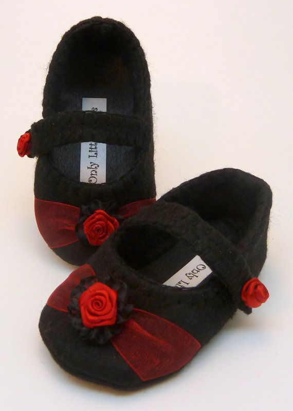 Black and red mary jane with rosette by OnlyLittleOnce on Etsy