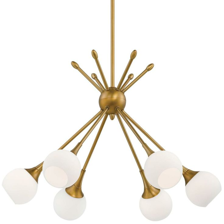 MidCentury Modern Mobile Chandelier 6 lt Golden Brass or Brushed Nickel rods and opal glass globes brings a midcentury modern cluster of lights to your space.