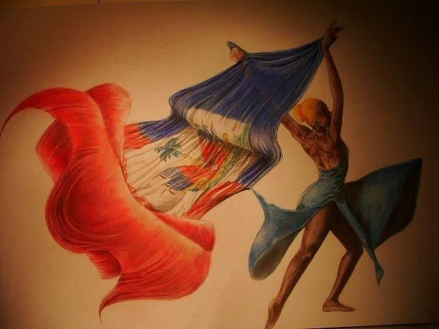 Haitian art- carrying Haitian Flag