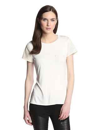 57% OFF ASTARS Women's Weightless Leather Sleeve Tee (White)