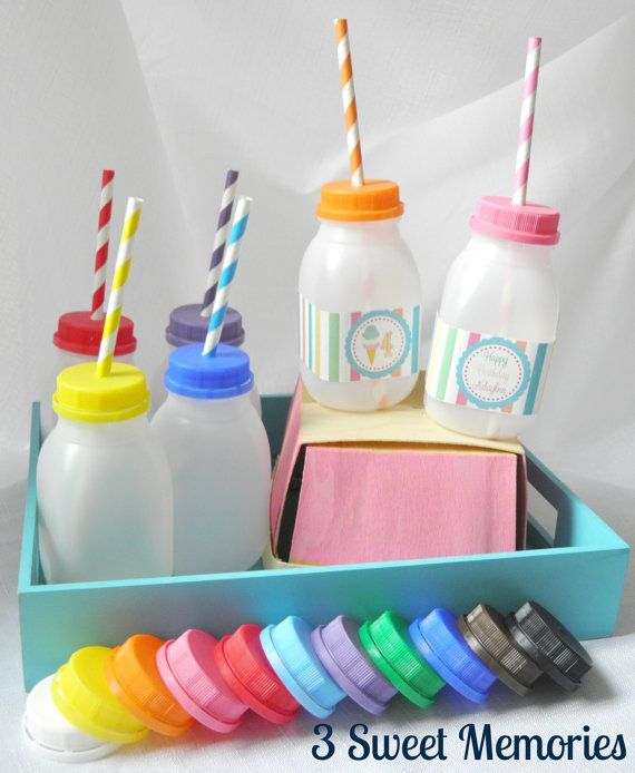 Set of 8 Plastic No Spill Milk Bottles Perfect by 3SweetMemories, $9.00
