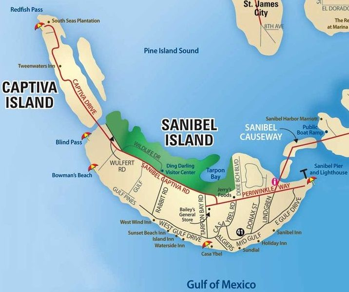 Sanibel Captiva Map. Sanibel island has 15 miles of beaches, 22 miles of bike paths, abundant wildlife and the largest undeveloped mangrove ecosystem in the country.
