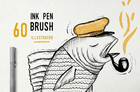 Ink Pen Brush vector by ZiziMarket on Creative Market