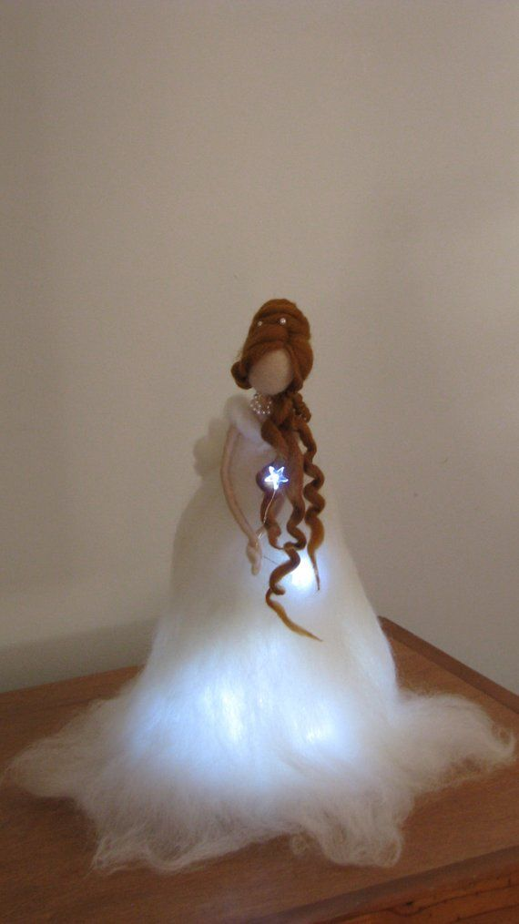 Christmas angel Fair Needle felted with Lights Waldorf doll Christmas lamp Decoration Art doll
