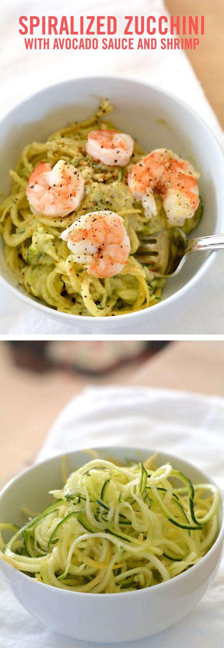 Spiralized zucchini noodles, or zoodles with avocado sauce and steamed shrimp. The sauce is made with yogurt and avocados, and the shrimp is lightly cooked and placed on top to add extra protein. A healthy AND delicious recipe from @babble !