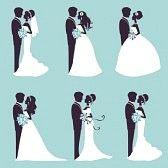 nozze cartoon : Illustrazione di sei coppie di nozze in silhouette in formato vettoriale