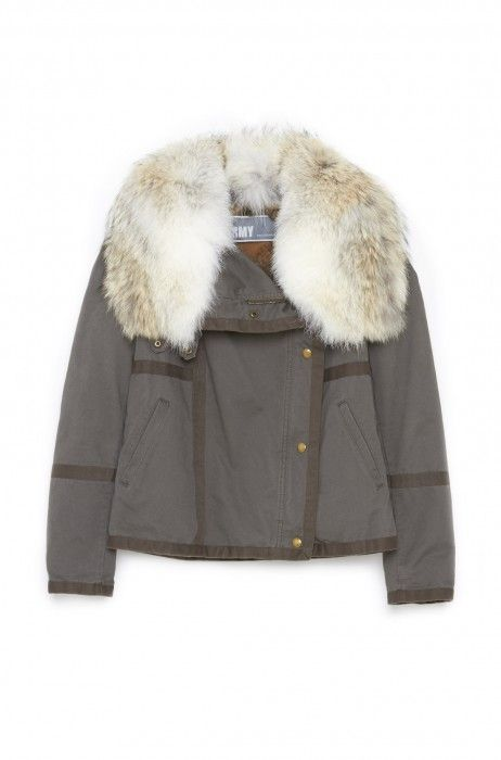Short Cotton Parka in Army by Yves Salomon