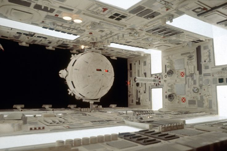 Architecture, Design and Film - 2001 Space Odyssey; Aries 1B inside docking bay of Space Station V