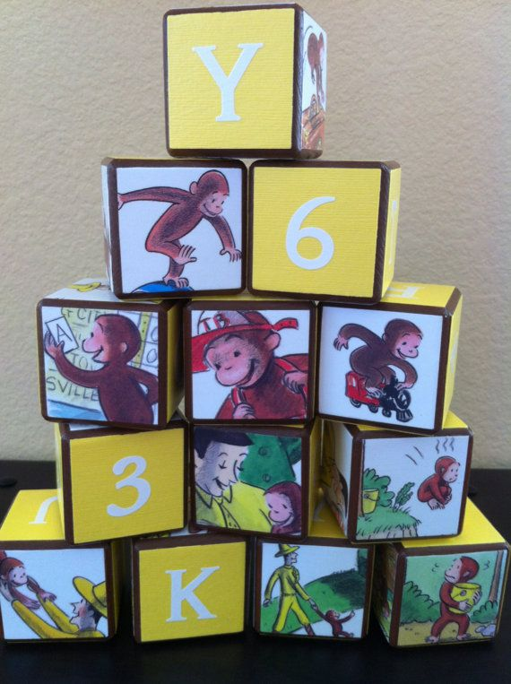 Curious George Building Blocks by OllieBeez on Etsy