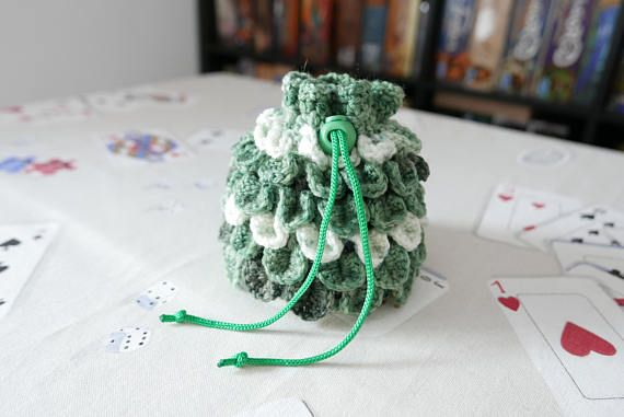 Hey, I found this really awesome Etsy listing at https://www.etsy.com/listing/598189013/dice-bag-crochet-dragon-scale-green-and