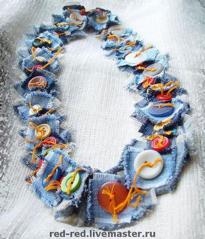 colar com tecido e  botões