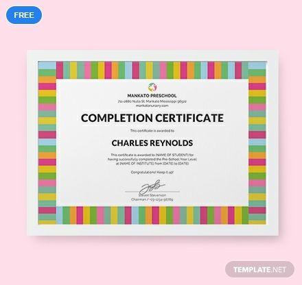 Free Preschool Completion Certificate Life hacks Certificate