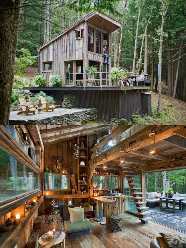 new york cabin woods large 650x867 Amazing One room Cabin in the Woods, NY
