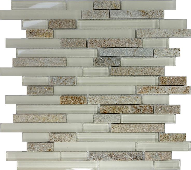 Sample Brown Glass Natural Stone Linear Mosaic Tile Wall: SAMPLE- Cream Beige Glass Natural Stone Linear Mosaic Tile