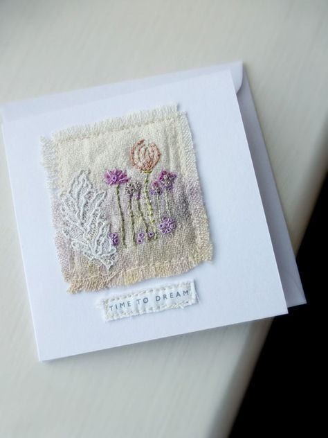 time to dream card mini textile card embroidered by MaryMoorkens