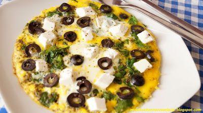 Moje                                                                       Kuchenne Rewelacje  : Omlet ze szpinakiem, fetą i oliwkami