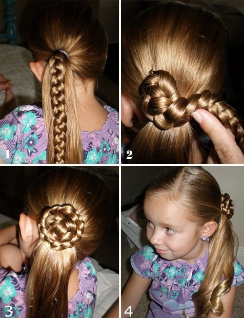 Tutorial: Flower braid side Ponytail Simple Hairstyle for Little Girl