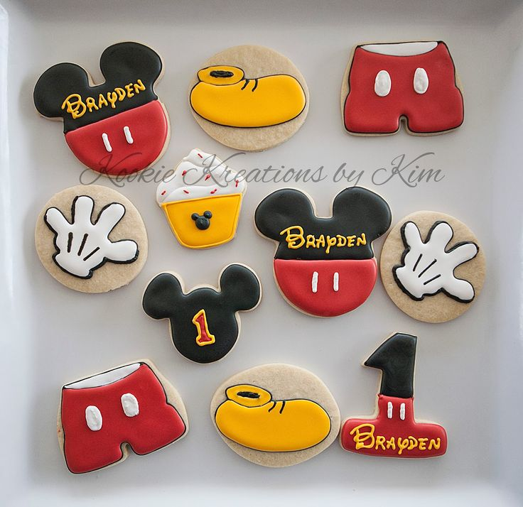 Mickey Mouse first birthday cookies - Kookie Kreations by Kim