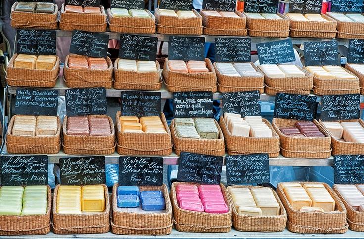 Provençal soaps for sale at an open-air market in the Place des Precheurs, Aix-en-Provence, France- Image by Phil Haber