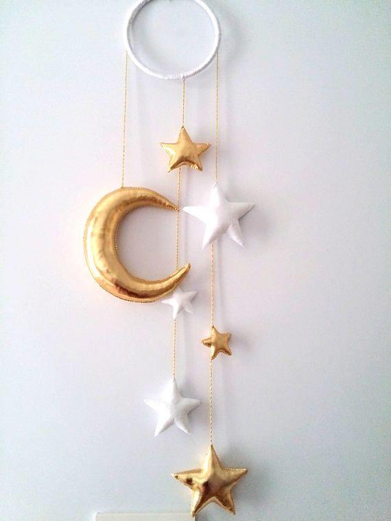 Moon and Stars Ornament, Baby Mobile, Moon, Stars, Kids Room Decor