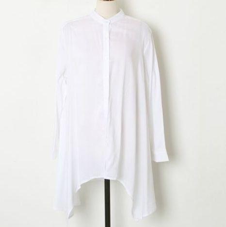 Amazon.co.jp: 不規則裾シンプル長袖シャツ レディースファッション (ホワイト): 服&ファッション小物通販