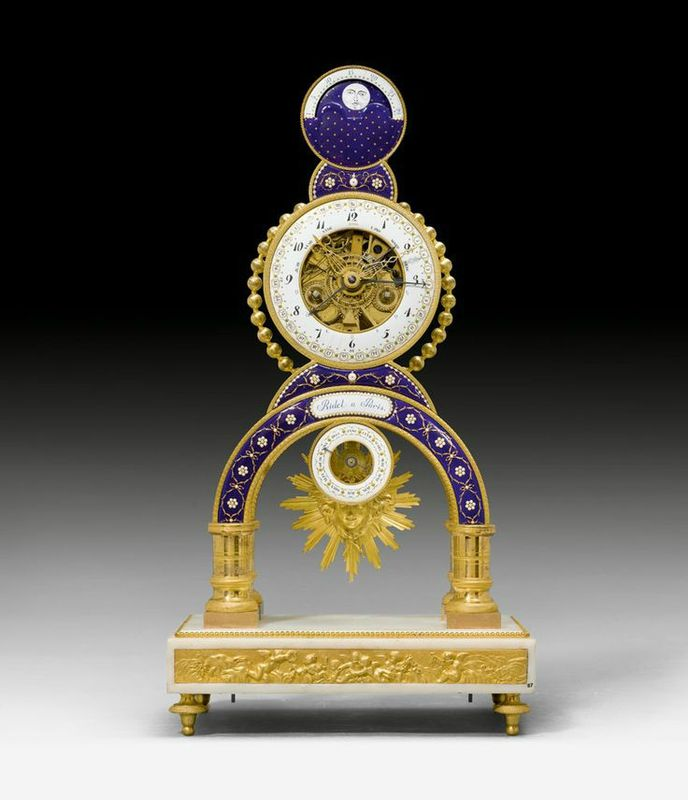 Mantle clock with skeleton movement, moon phase and date, Louis XVI, the cartouche signed RIDEL A PARIS (probably Laurent Ridel, active from ca. 1770 onwards), the enamel painting attributed to J. COTEAU (Joseph Coteau, Geneva 1740-1801 Paris) , Paris ca. 1780. Gilt bronze, white marble and exceptionally fine enamel. Fine enamel dial ring with Arabic hours and minutes, date and days of the week in French, as well as planet symbols. 5 fine hands - Dim: 27x15.5x50 cm.
