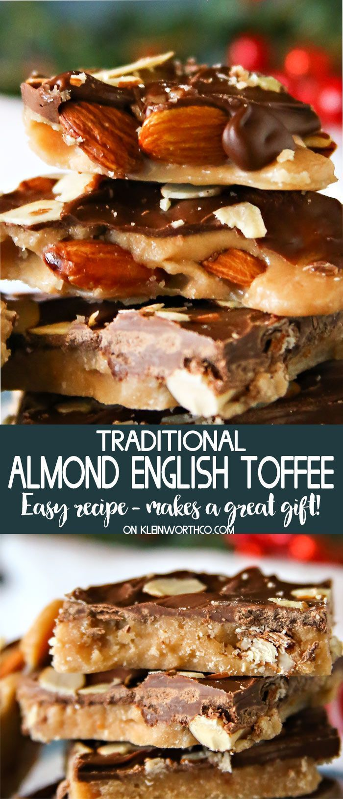 Traditional Almond English Toffee is easy to make & perfect for the holidays. If you need the perfect holiday food gift, make this English Toffee Recipe. via @KleinworthCo #toffee #almond #holiday #christmas #foodgift #chocolate