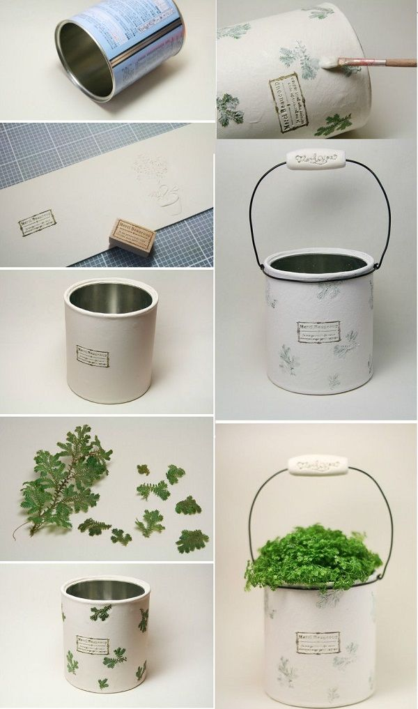 DIY home decor with can and plants