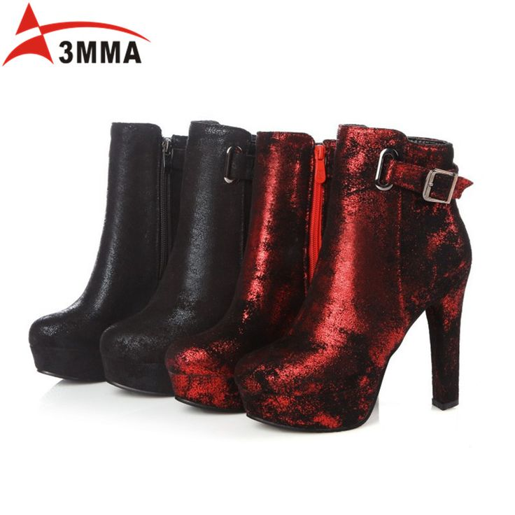 ==> [Free Shipping] Buy Best 3MMA 2016 Handmade Large Size Women Soft Leather Ankle Boots Black Red High Heel Booties with Side Zip Round Toe Wedding Shoes Online with LOWEST Price | 32766991214