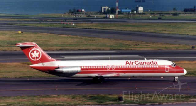 Air Canada DC9 in old colors taxi's in 1997.