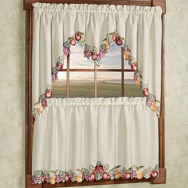 Red Apples 3 Piece Embroidered Kitchen Tier And Valance Set