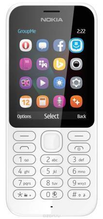 Nokia 222 DS, White  — 3590 руб. —  Работайте в Интернете, говорите и обменивайтесь сообщениями с помощью надежного мобильного телефона с камерой Nokia 222 DS. Фотографируйте с помощью Nokia 222 все, что происходит вокруг. Задняя камера 2 Мпикс позволяет делать отличные снимки. Используйте Facebook или GroupMe by Skype для обмена фотографиями с друзьями и близкими. Находите нужную информацию, с помощью браузера Opera Mini, приложения MSN Погода и поисковой системы Bing. Общайтесь с друзьями…