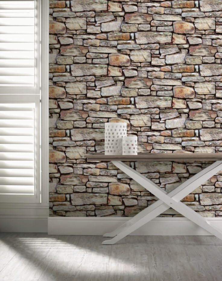 Create a rustic feel to any room in your home with this Cornish-style brick wallpaper. Match with wooden flooring and furniture. For more inspiration, check out our other boards or view our full range of textured wallpaper on diy.com/wallpaper