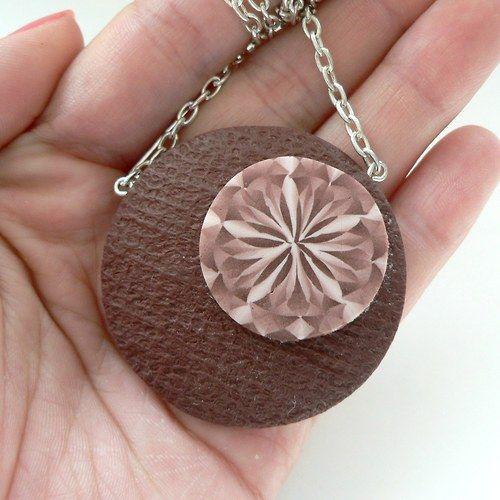 Hnědý kaleidoskop - náhrdelník Fimo (polymer clay)