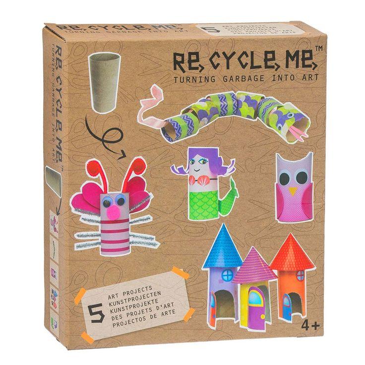 Maak van wc rollen leuke kunstprojectjes zoals een enge ratelslang, een mooie vlinder, een wijze uil, een kleurrijke zeemeermin of een klein kasteel. In het Re-Cycle-Me pakket zitten alle benodigdheden zoals papier, stickers en verf om gelijk aan de slag te gaan. Met de Re-Cycle-Me knutselpakketten leren kinderen bewust om te gaan met afval door er knutselwerkjes van te maken. Want minder afval, betekent meer plezier! Afmeting verpakking: 25 x 22 x 5 cm - Re-Cycle-Me WC-rolletje Meisje