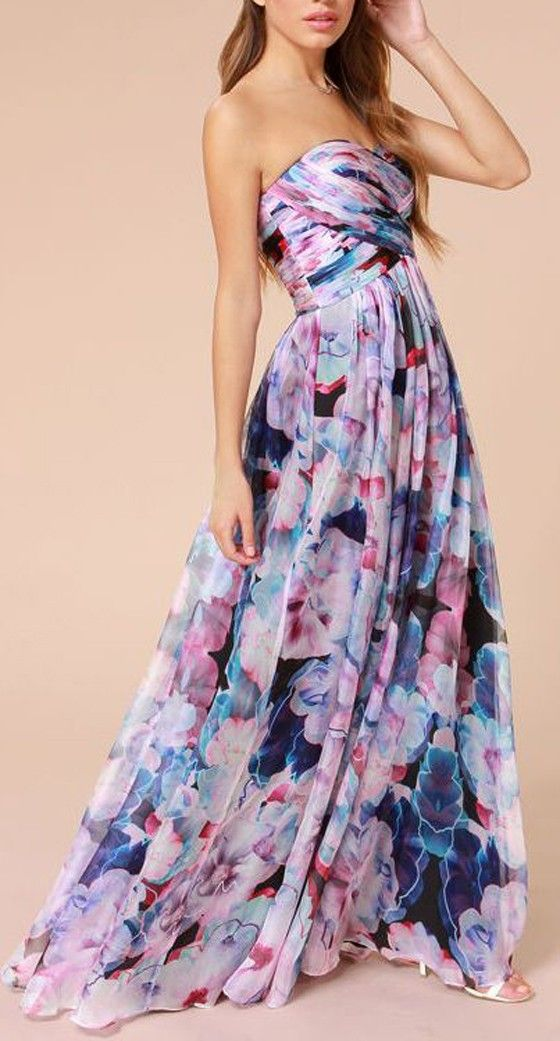 Multicolor Floral Pleated Bandeau Floor Length Bohemian Dress