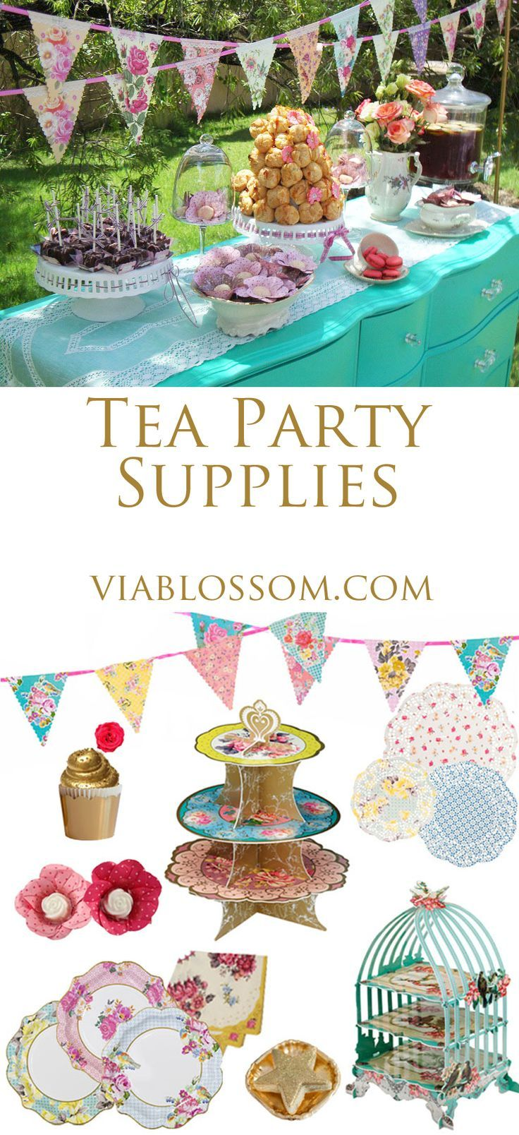 Tea Party decorations for baby showers, girl parties and bridal shower.  All available at http://viablossom.com