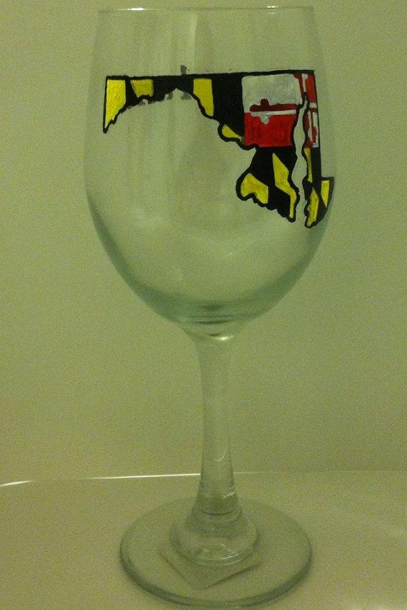 Maryland State wine glass