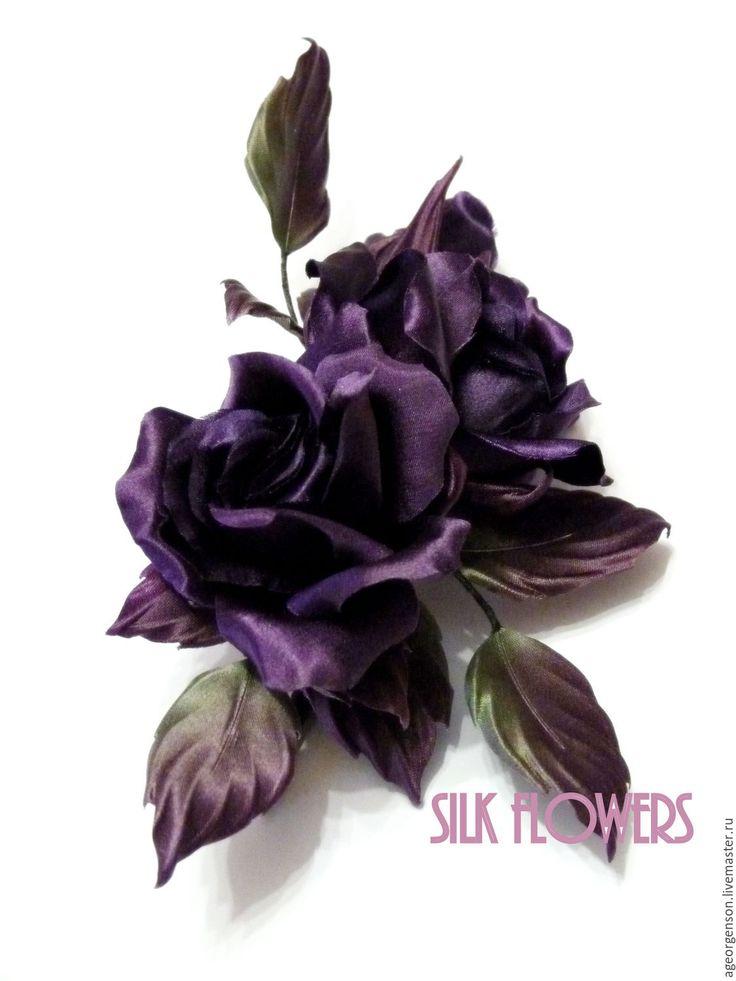"""Купить Цветы из шелка"""" Фиолетовые розы"""" - тёмно-фиолетовый, розы из шелка, шелковые цветы"""