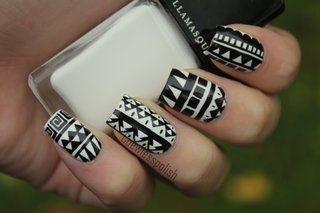 Tribal Nail Art Black & White