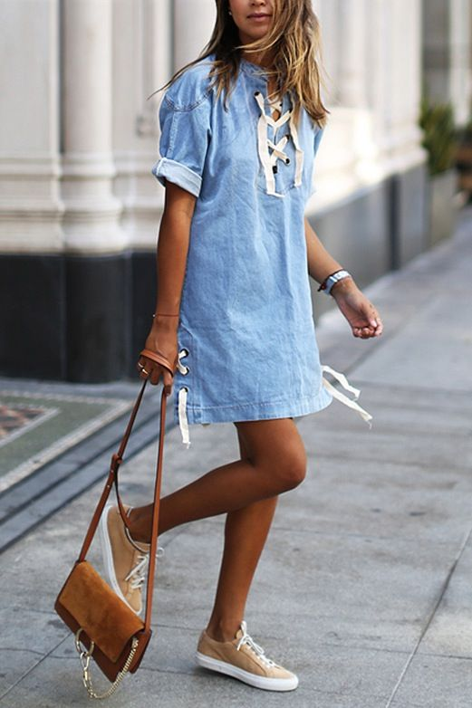 Love this jean dress paired with these shoes! So cute and ready for summer!