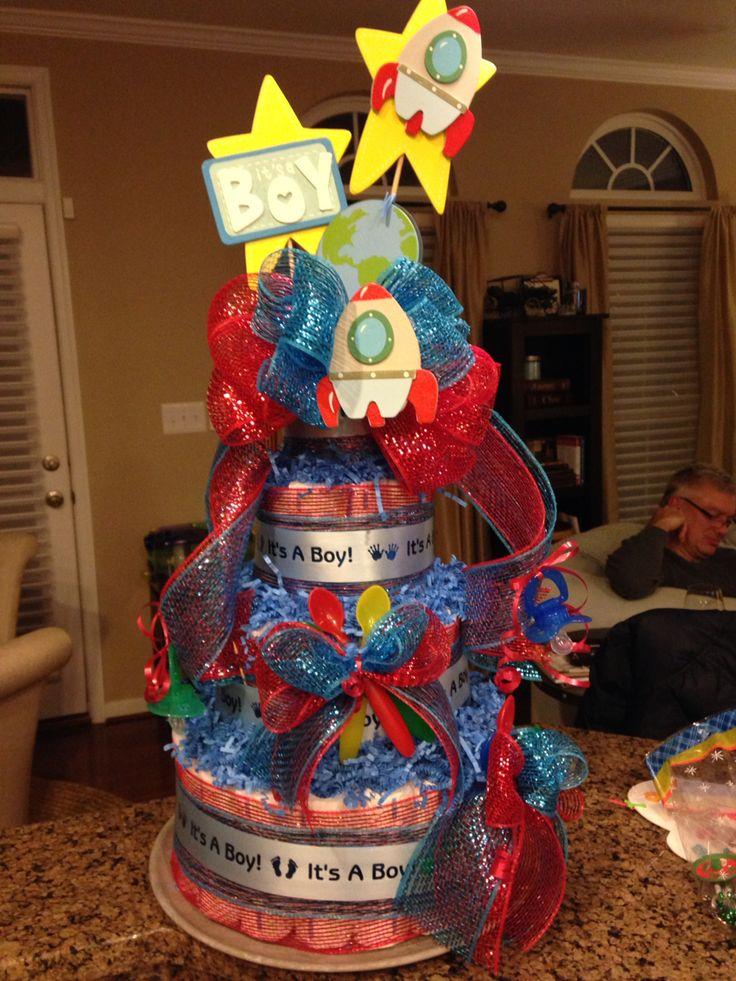 Rocket Diaper Cake Space Themed Baby Shower Pinterest