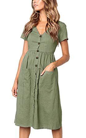 e01ffcdf24dd Angashion Women's Dresses-Short Sleeve V Neck Button T Shirt Midi Skater  Dress Pockets at Amazon Women's Clothing store: