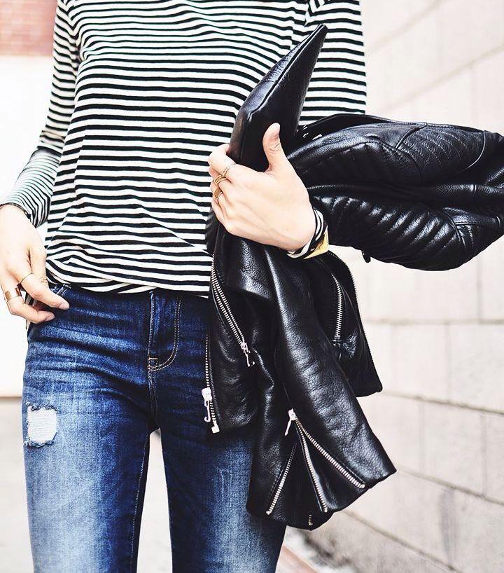 long sleeve striped tee, leather moto jacket & ripped jeans via: Her Imajination