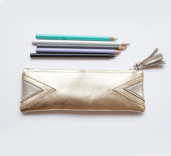 Gold Leather Pencil Case Metallic Pen Pouch Gold by gmaloudesigns