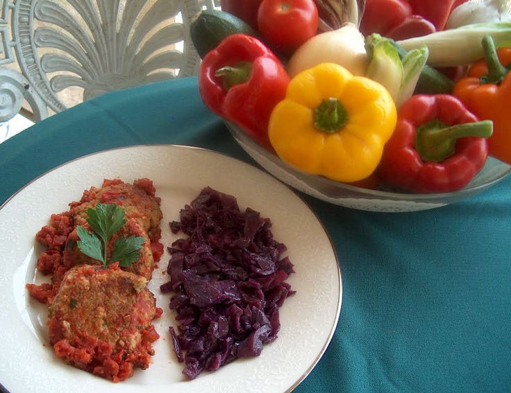 """Turkey patties with zucchini and potatoes and sweet and sour red cabbage. """"Ciao Tesoro"""" - Rita Romano amazon.com www.ritasrecipes.com"""